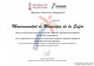 Reconeixement de la Generalitat Valenciana i Turisme Comunitat Valenciana