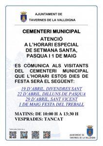 Horari de setmana santa per al cementeri municipal