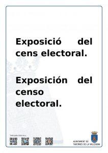 Exposició cens electoral | Ajuntament de Tavernes de la Valldigna