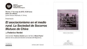 El Magnànim presenta 'El asociacionismo en el mundo rural. La Sociedad de Socorros Mutuos de Chiva'