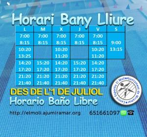 HORARIS CENTRE ESPORTIU - BANY LLIURE