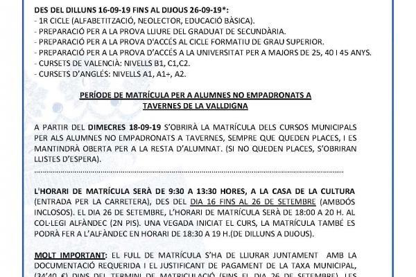 MATRÍCULA CURS 2019/2020 ESCOLA D'ADULTS BOLOMOR