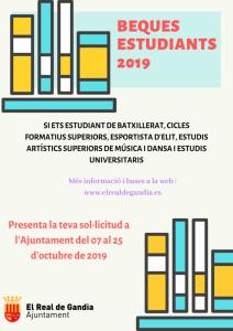 BEQUES ESTUDIANTS CURS 2019-2020 | Real de Gandia
