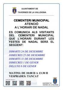 CEMENTERI MUNICIPAL HORARI DE NADAL