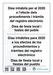 Dies inhàbils per al 2020 a l'efecte dels procediments i tràmits del registre electrònic. Dies de festa local i festes del poble