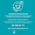 Oliva ofereix atenció psicològica a la població, amb motiu del confinament
