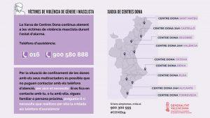 Funcionament Xarxa de Centres d'Atenció a Dones Víctimes de Violència de Gènere de la Generalitat Valenciana durant l'estat d'alarma