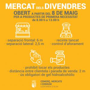 Oliva reobri el Mercat dels divendres per a productes alimentaris i de primera necessitat