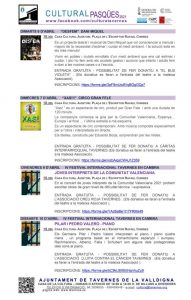 Programació cultural Pasqua | Ajuntament de Tavernes de la Valldigna
